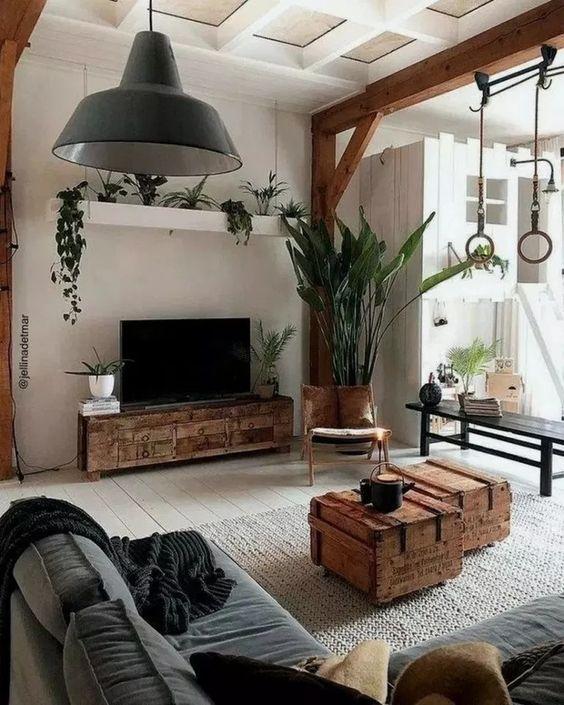 Sala de estar com rack rustico de madeira