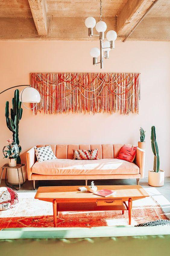Sala de estar na cor pessego