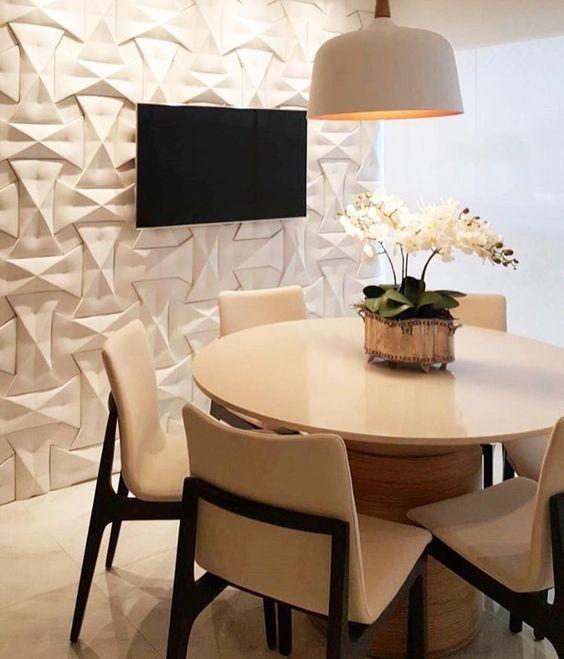 Sala de jantar com porcelanato 3D na parede