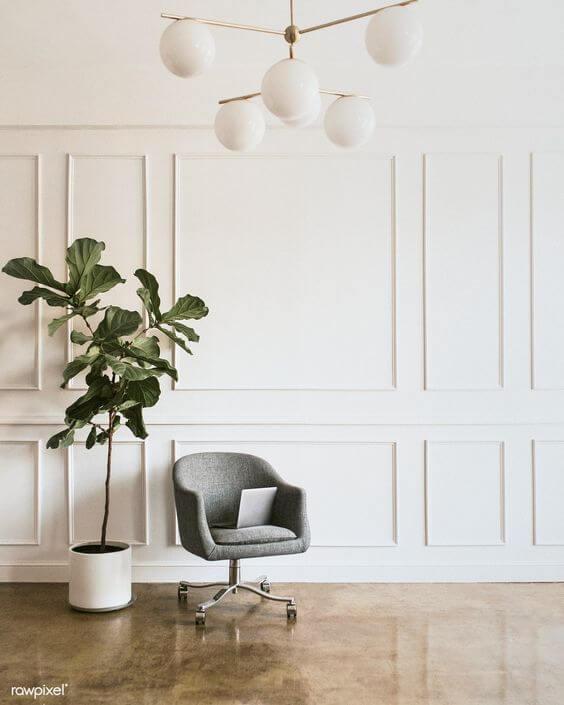Sala moderna com moldura de isopor