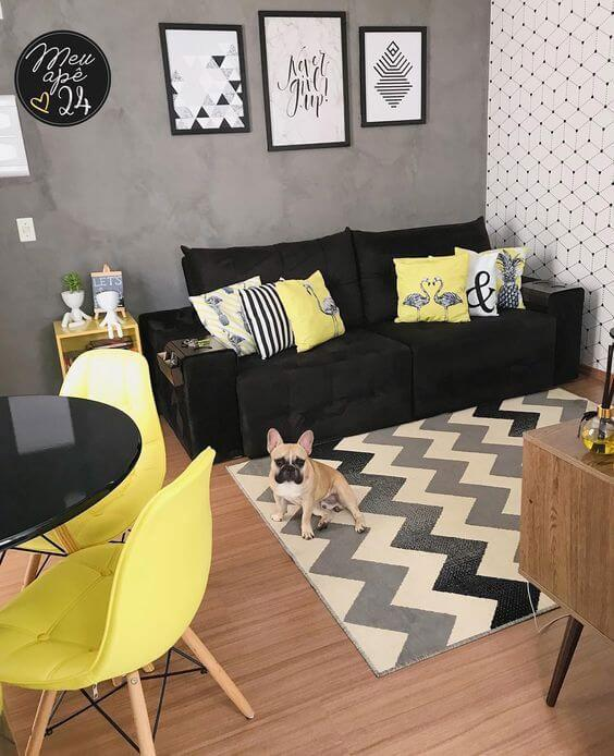 Sala moderna com tapete chevron