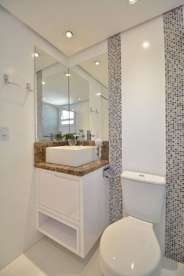 armário branco pequeno para decoração de banheiro Foto Simples Decoração