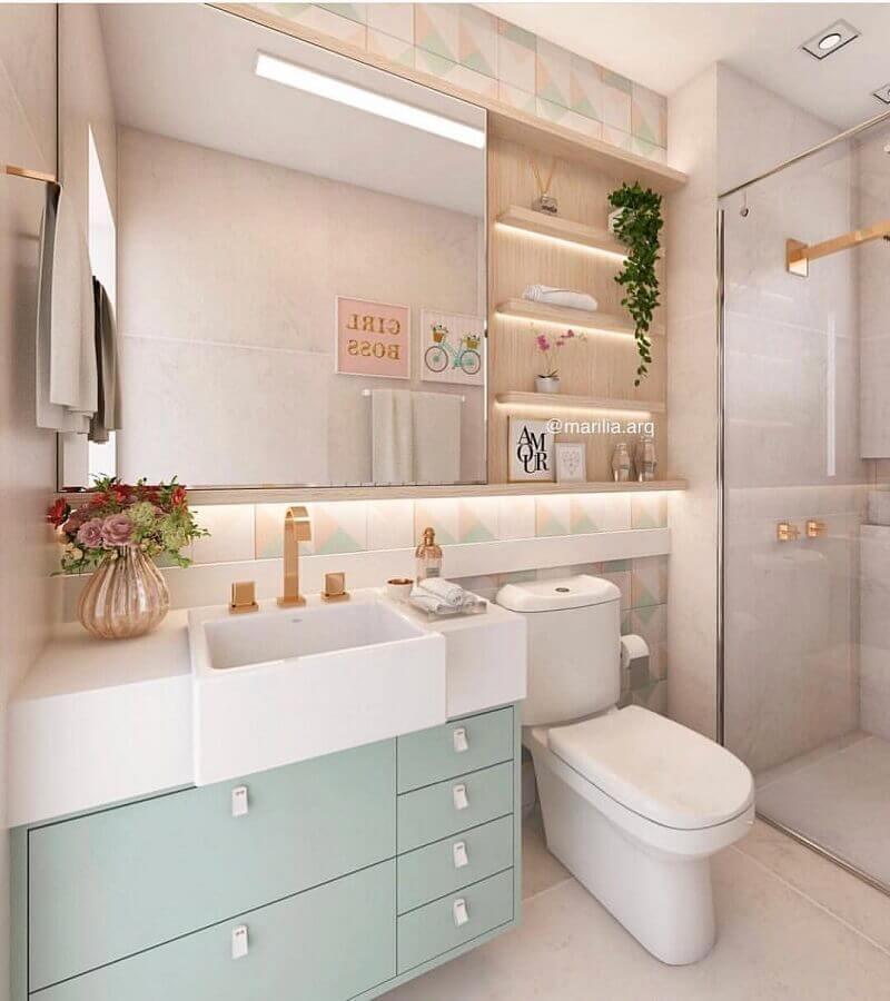 armário suspenso para banheiro decorado em tons pastéis Foto Dicas de Mulher