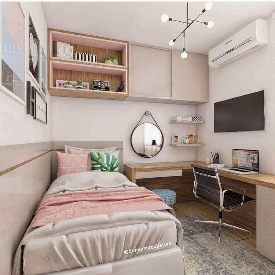 armário suspenso quarto feminino planejado com escrivaninha de canto de madeira Foto Dumon Arquitetura