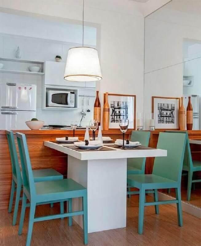 balcão de madeira para decoração de cozinha americana integrada com sala de jantar Foto Studio1202