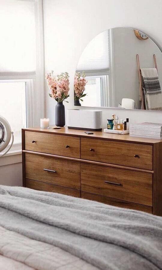 cômoda para quarto decorado com espelho meia lua Foto Home Fashion Trend