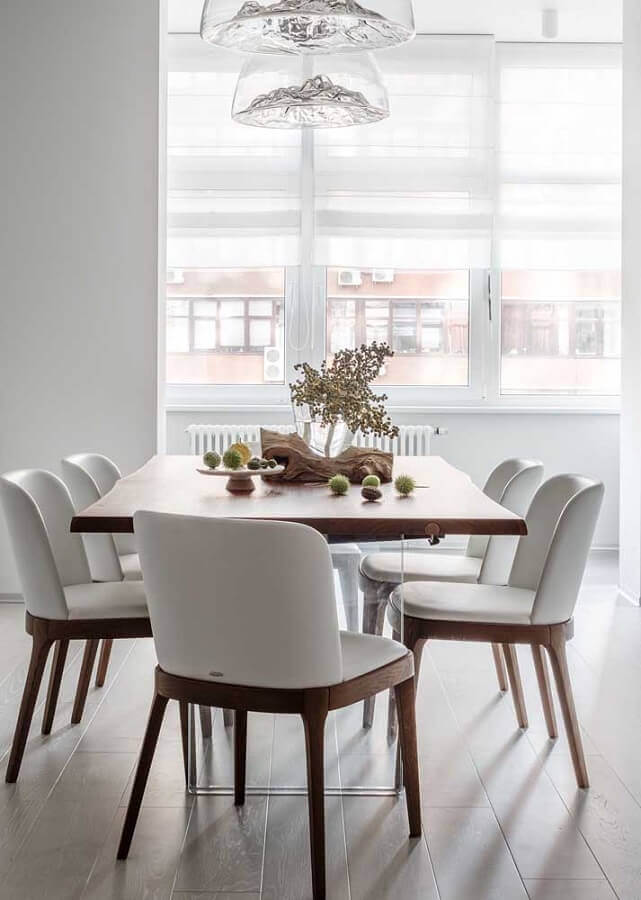 cadeiras para sala de jantar branca decorada com estilo minimalista Foto Apartment Therapy