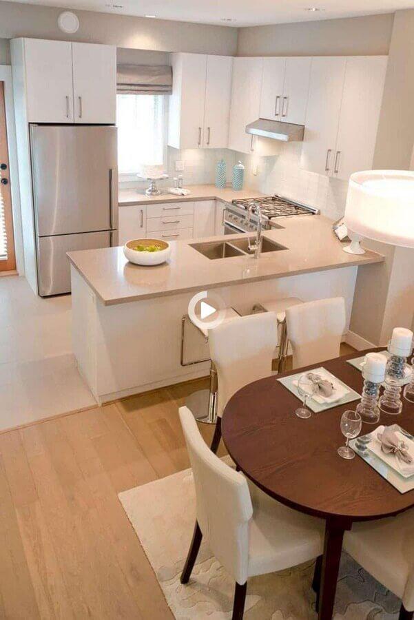 cores claras para decoração de cozinha americana com sala de jantar Foto Mi Casa Revista