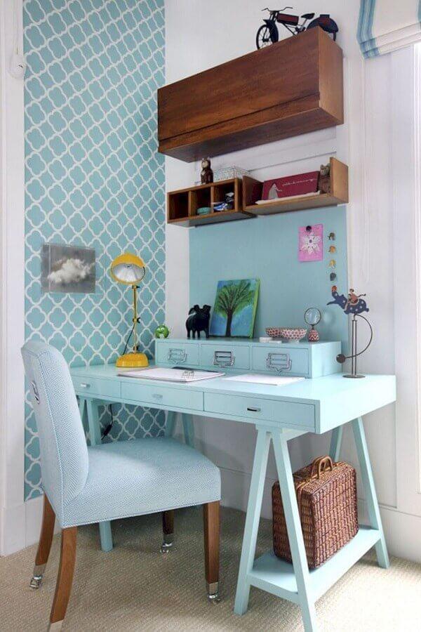 cores pastéis para decoração de home office azul e branco Foto Pinterest