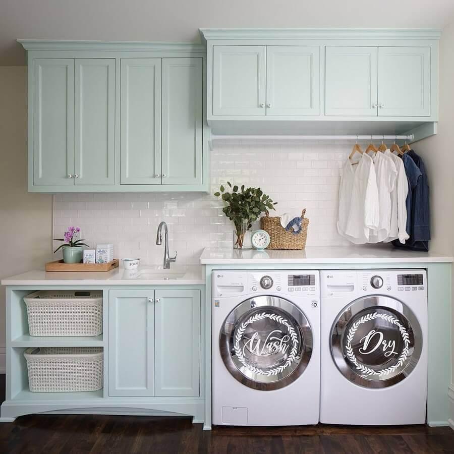 cores pastéis para decoração de lavanderia planejada Foto Etsy