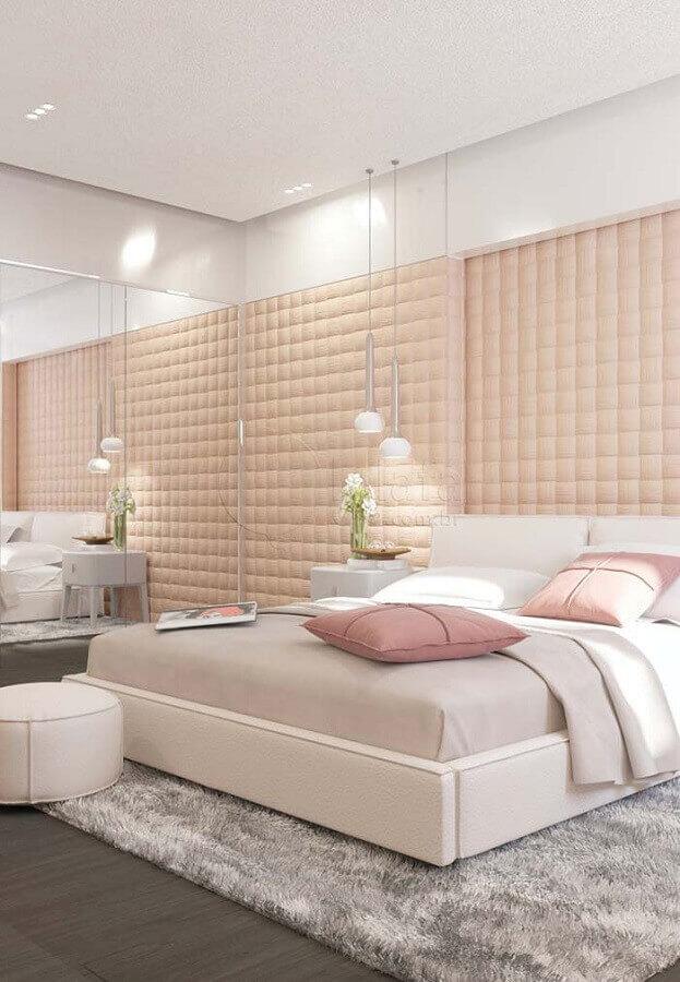 cores pastéis para quarto de casal decorado com cabeceira estofada rosa Foto Pinterest
