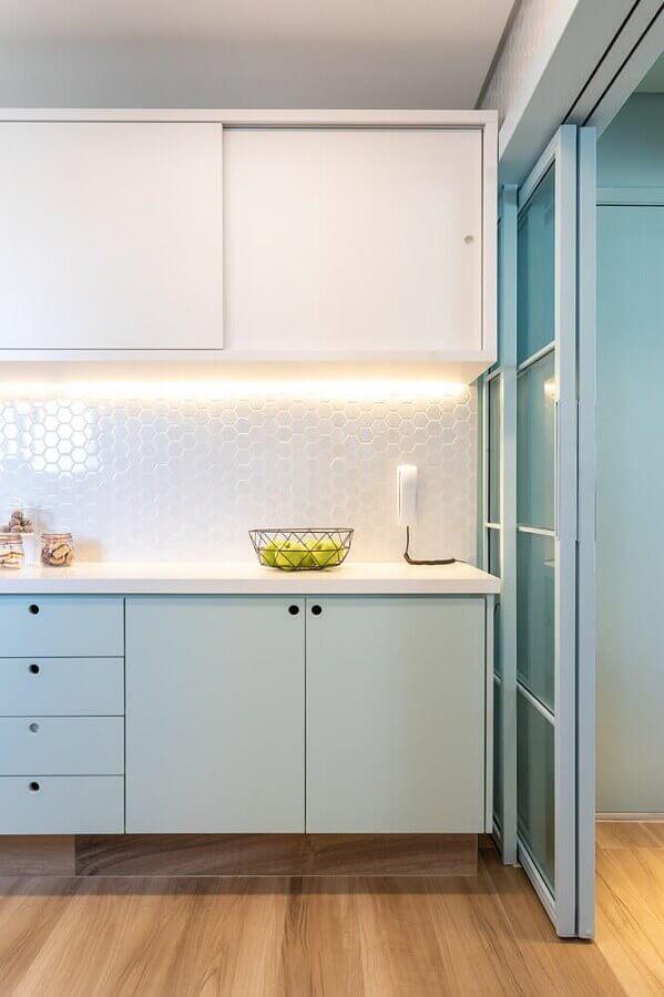 cores pasteis azul para decoração de cozinha planejada moderna Foto Casa Casada