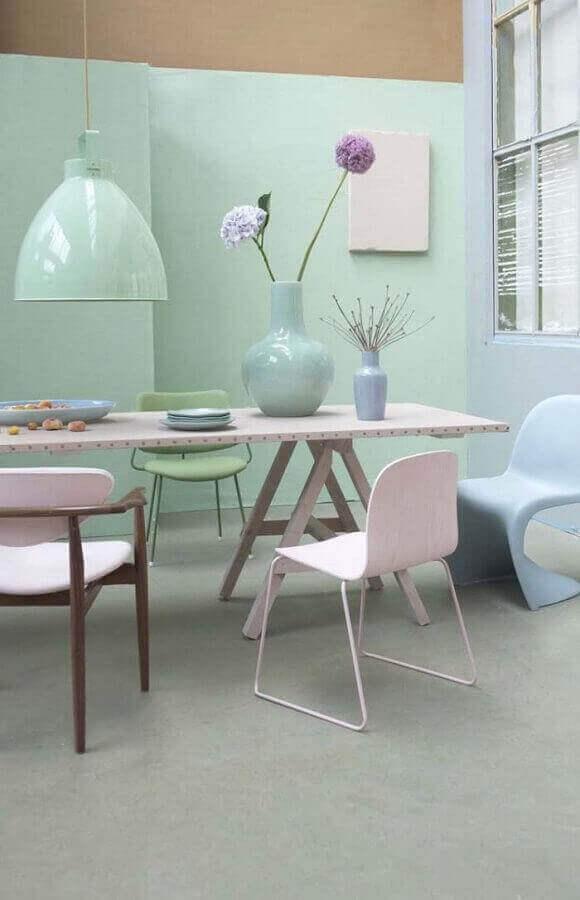 cores tons pastéis para decoração de sala de jantar Foto Pinterest