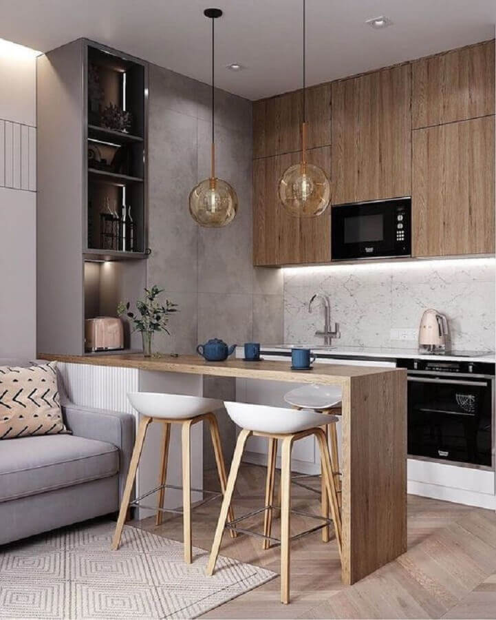 cozinha estilo industrial moderna decorada com banqueta branca Foto Pinterest