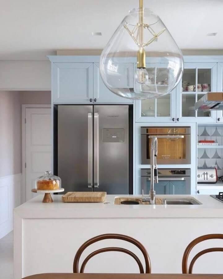 cozinha moderna decorada em cores pastéis azul Foto Qattrino Arquitetura