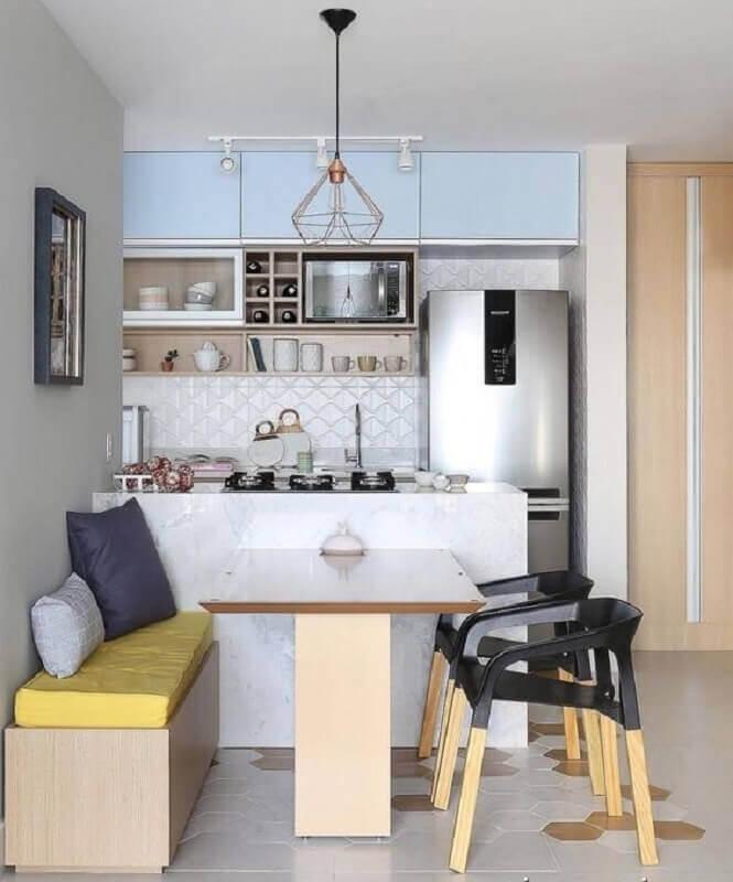 decoração clean com cadeiras modernas para cozinha americana com sala de jantar Foto Mariana Orsi