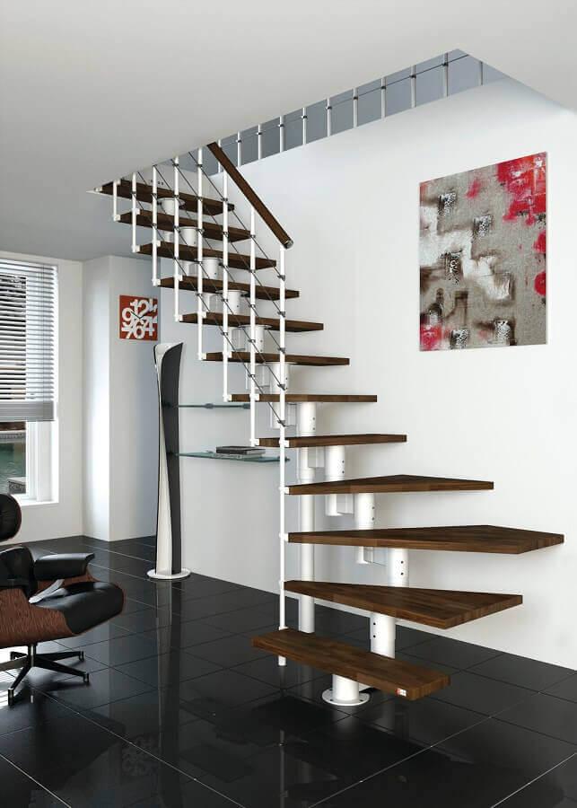 decoração clean com escada de ferro interna branca com degraus de madeira Foto All Architecture Designs