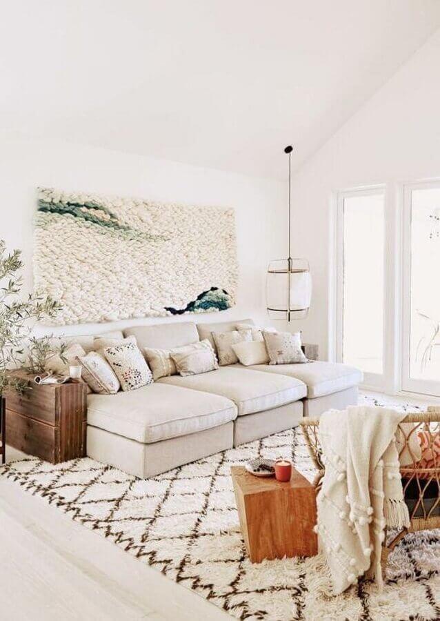decoração clean com luminária de teto para sala de estar branca Foto Pinterest