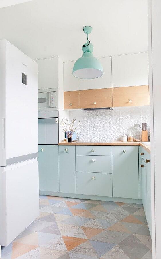 decoração clean em cores pastéis para cozinha planejada Foto Ideias Decor