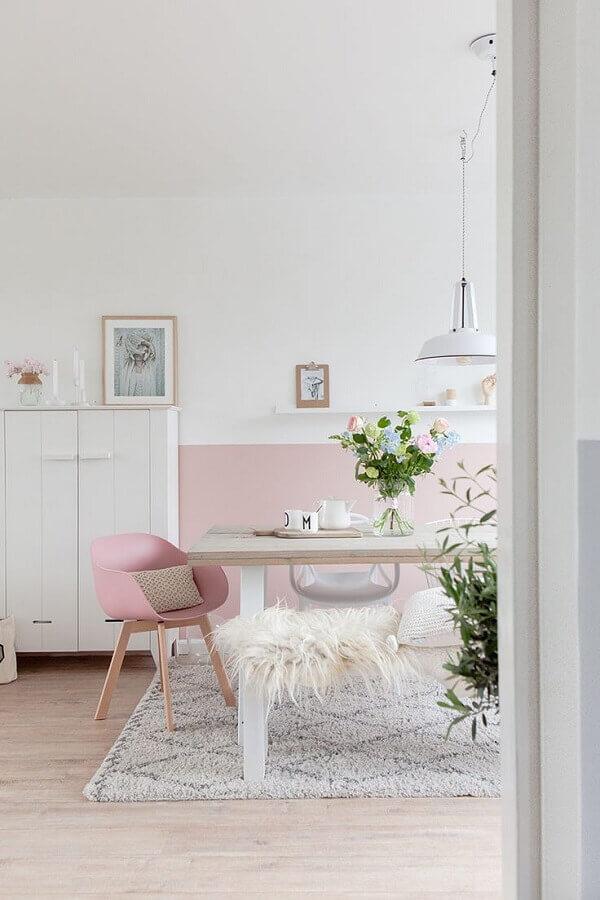 decoração clean em cores pastéis para sala de jantar Foto Home Fashion Trend