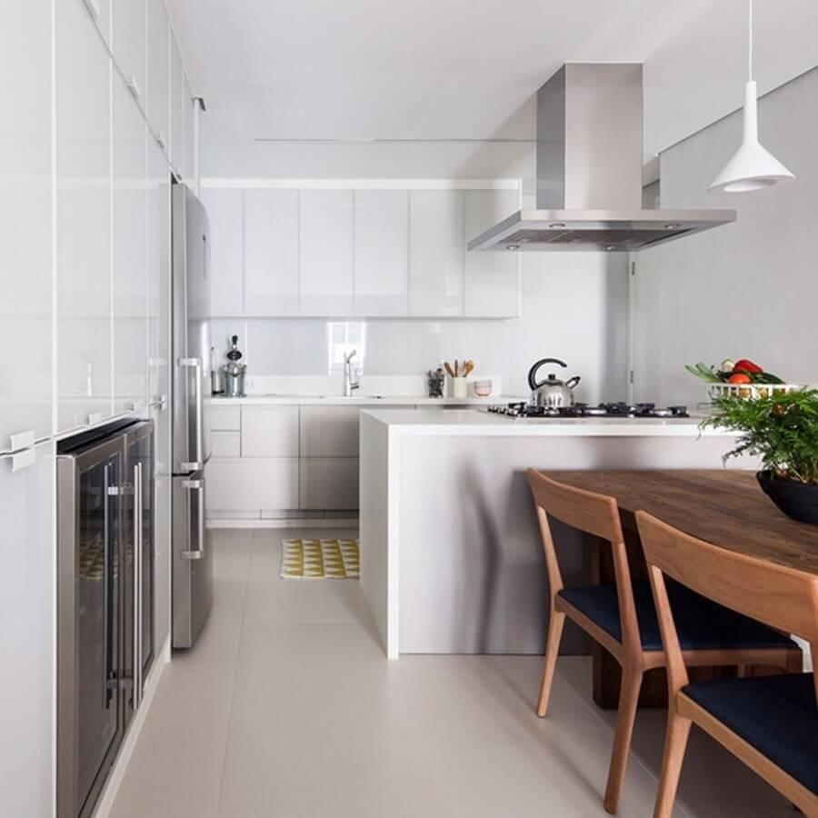 decoração clean para cozinha americana integrada com sala de jantar Foto Pinterest