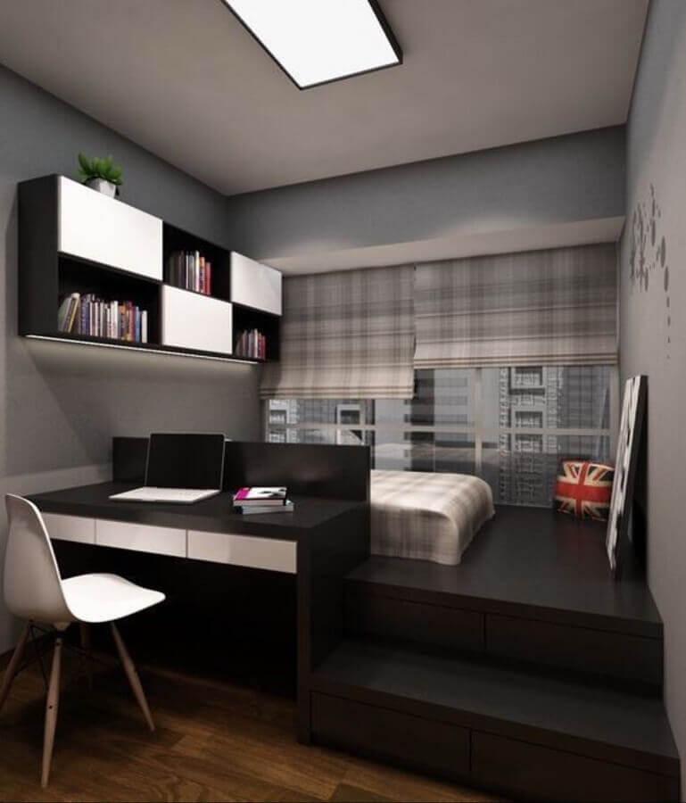 decoração com armário suspenso para quarto preto Foto Pinterest
