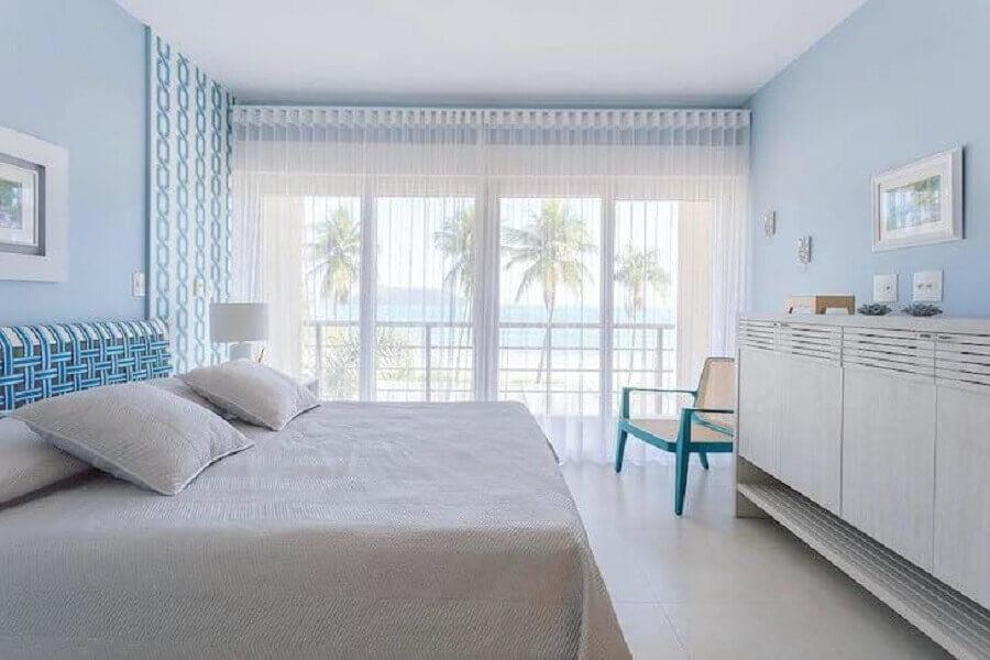 decoração com cores pastéis para quarto de casal azul e branco Foto Fernanda Podolsky