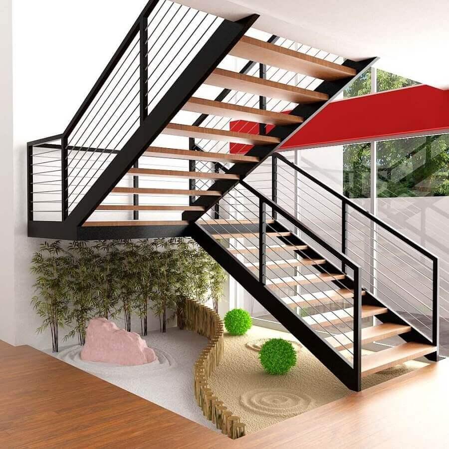 decoração com escadas internas em U de ferro e madeira Foto Homify