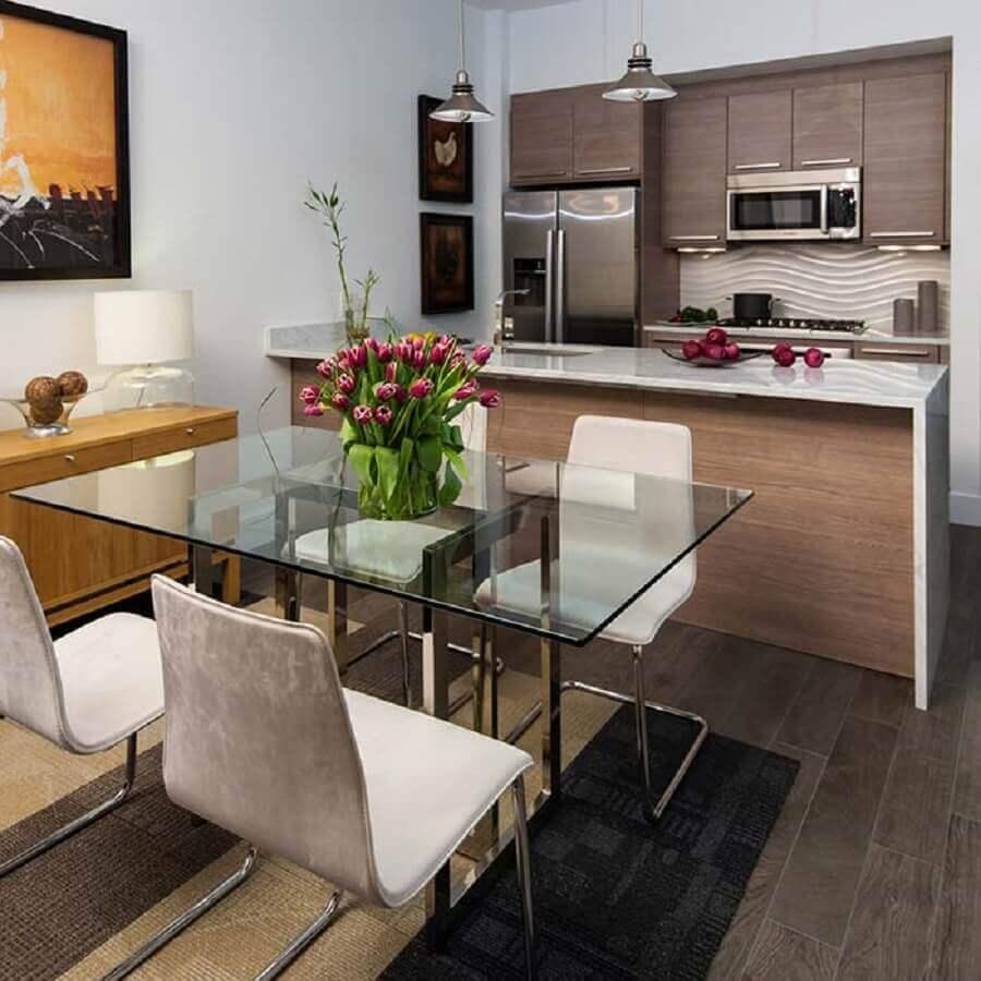 decoração com mesa de vidro para sala de jantar com cozinha americana Foto Ideias Decor