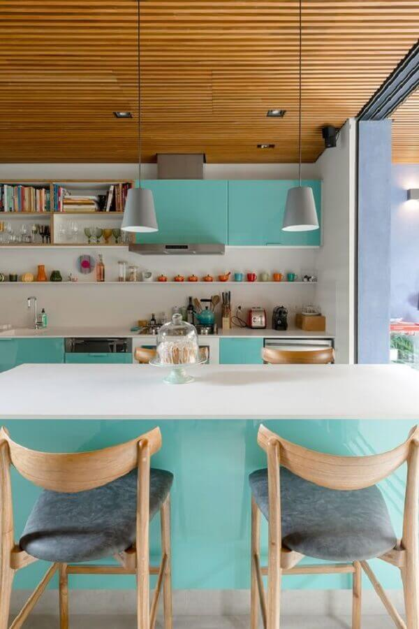 decoração cor verde piscina para cozinha planejada Foto Casa de Valentina