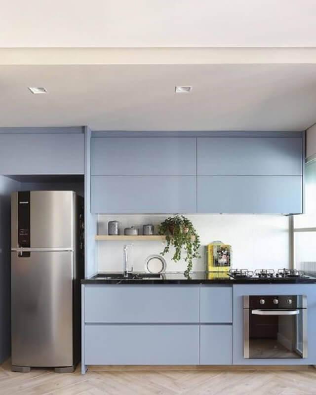 decoração de cozinha azul com cores pastéis Foto Mariana Orsi