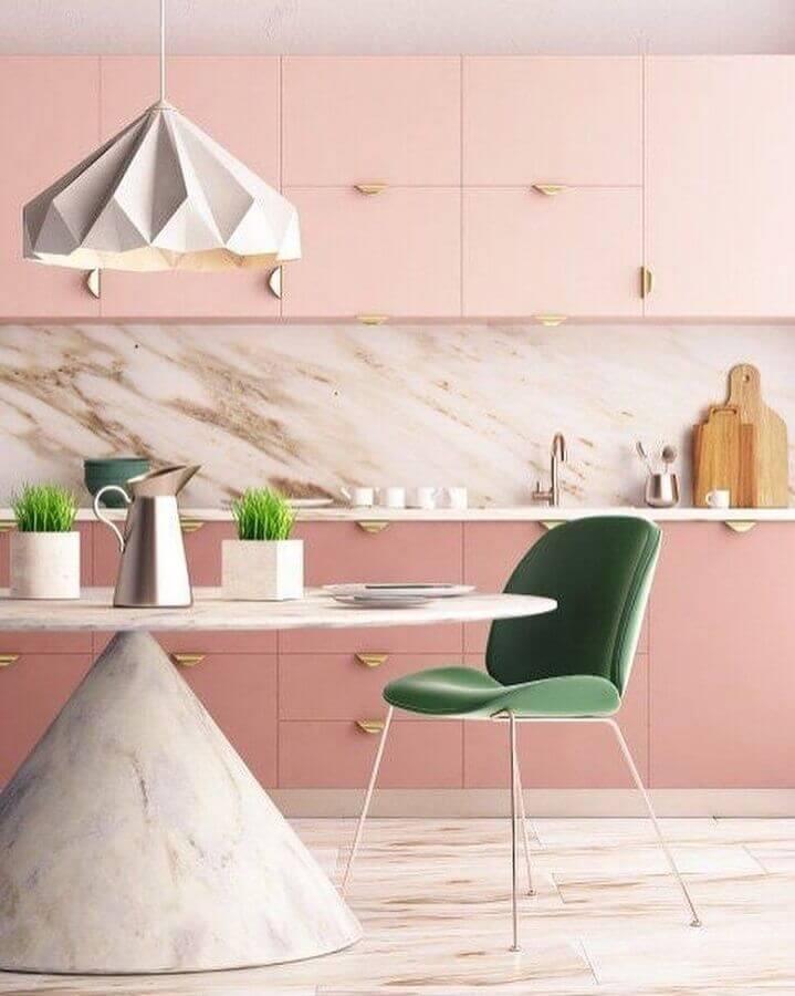 decoração de cozinha rosa em cores pastéis Foto ViralDeco