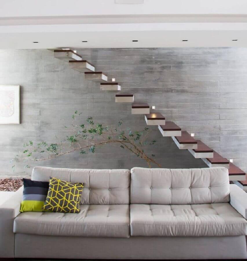 decoração de sala cinza com escada interna vazada Foto SB Ardelotto Arquitetura