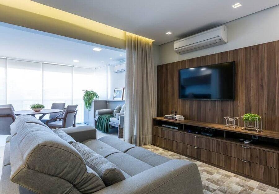 decoração de sala de apartamento integrada com a varanda Foto Home Fashion Trend