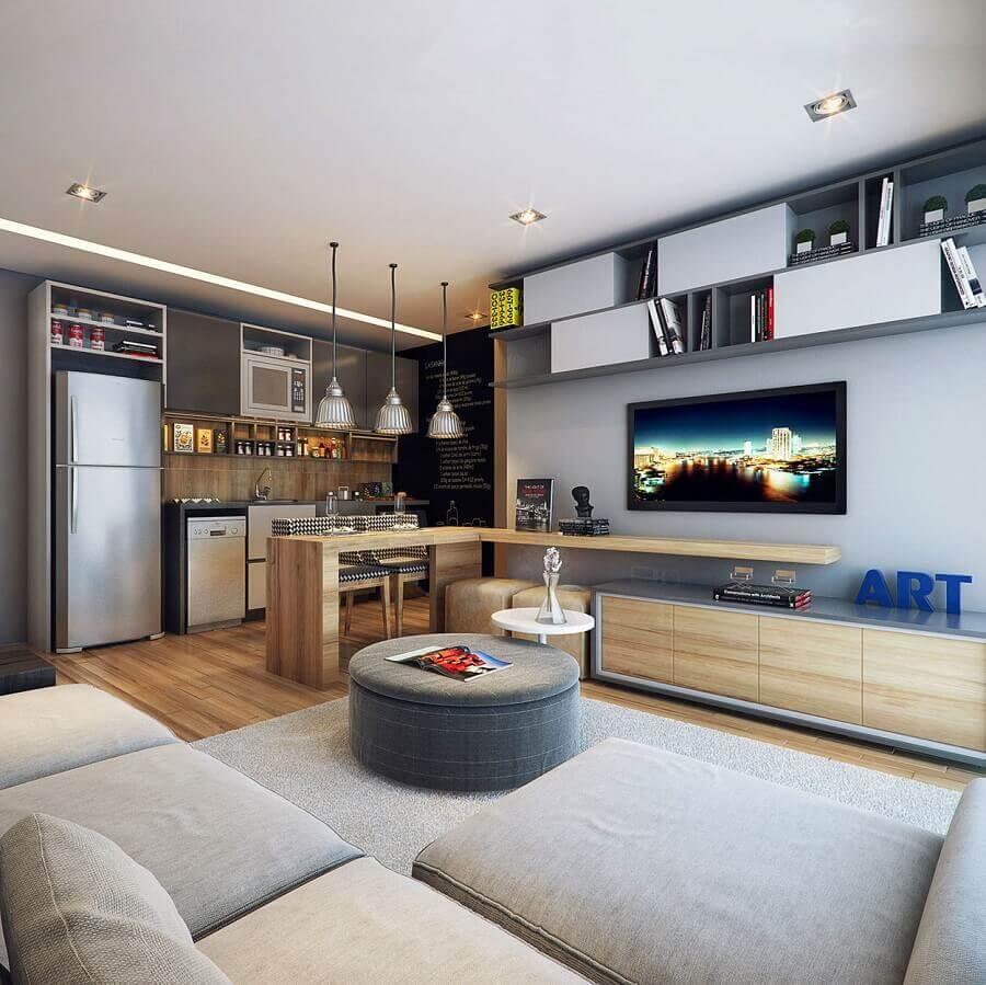 decoração de sala de apartamento moderno em tons de cinza com cozinha integrada Foto Futurist Architecture