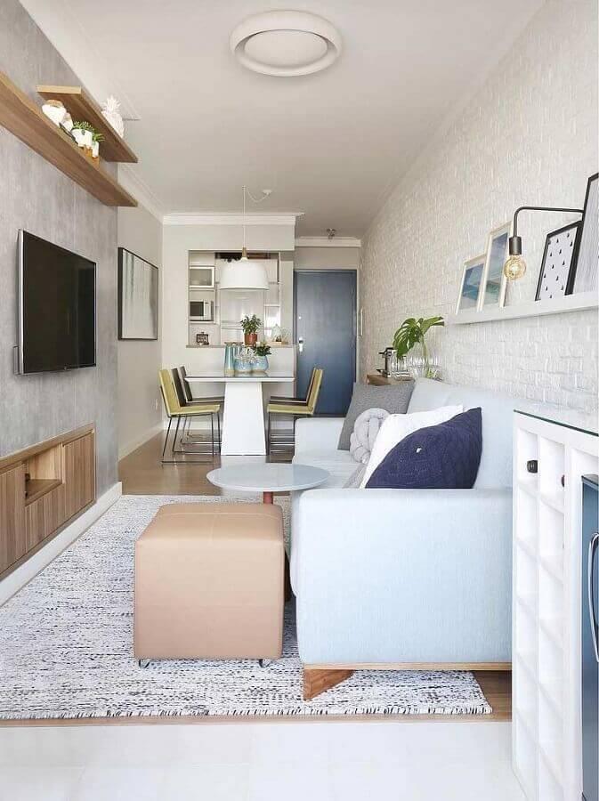 decoração de sala de apartamento pequeno com parede de tijolinho branco Foto Pinterest (1)