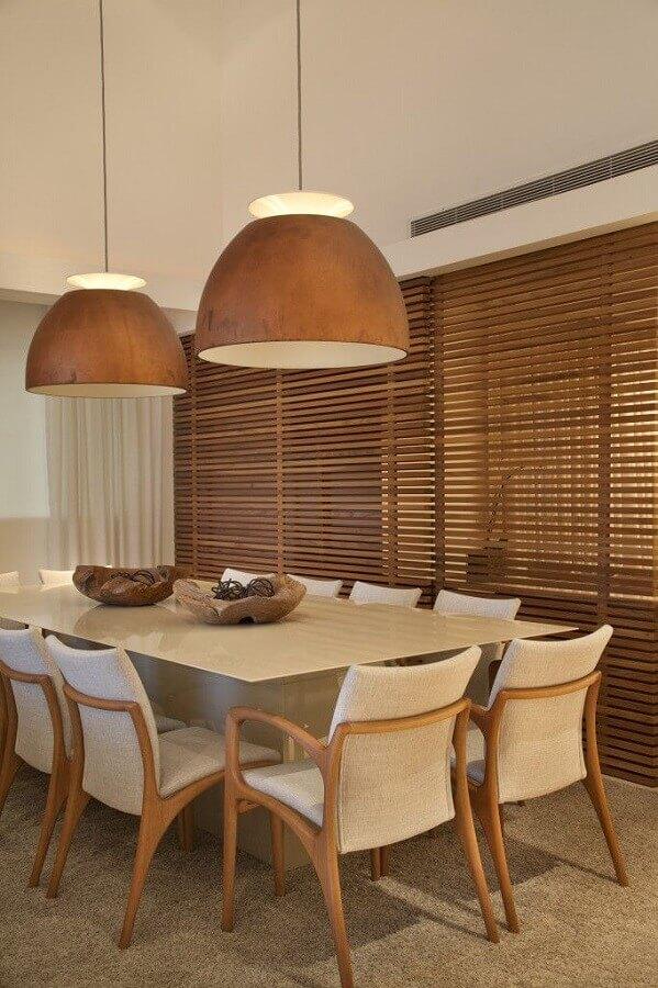 decoração de sala de jantar com luminária pendente de madeira Foto Pinterest