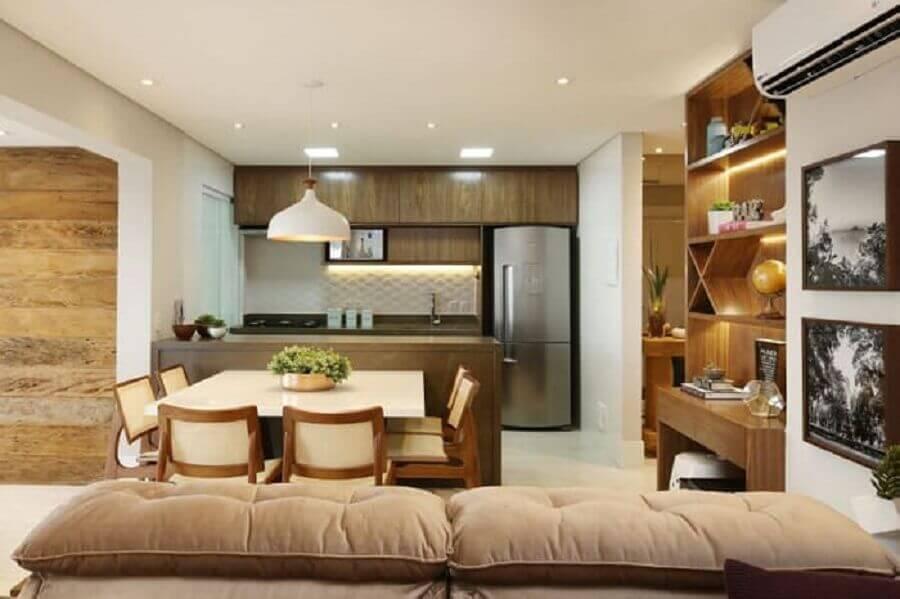 decoração em cores neutras para cozinha americana com sala de jantar e estar integrada Foto Pinterest