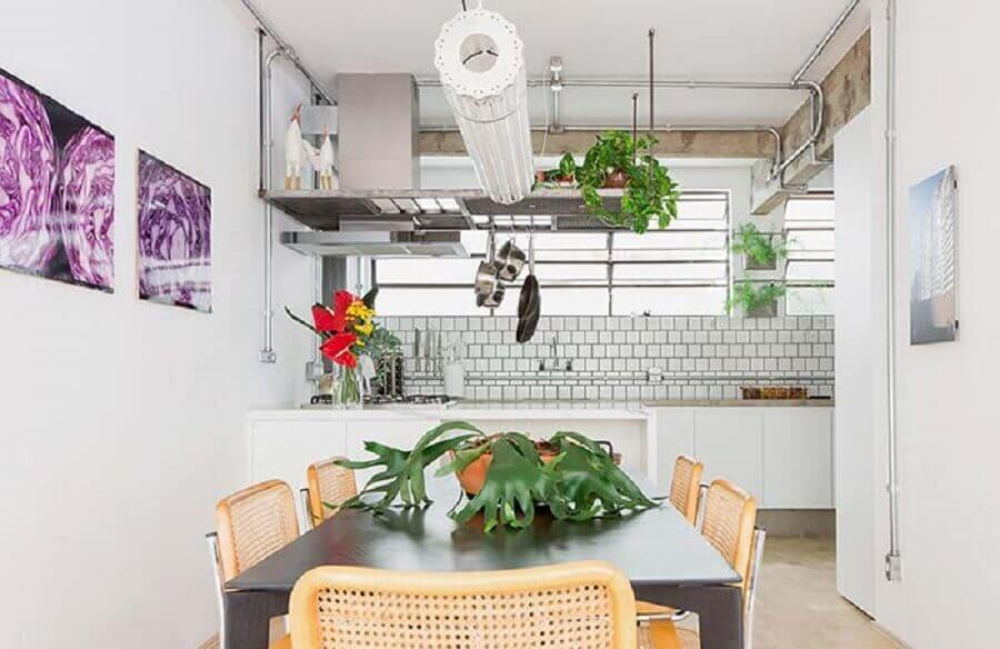 decoração estilo industrial para cozinha americana integrada com sala de jantar Foto Pinterest