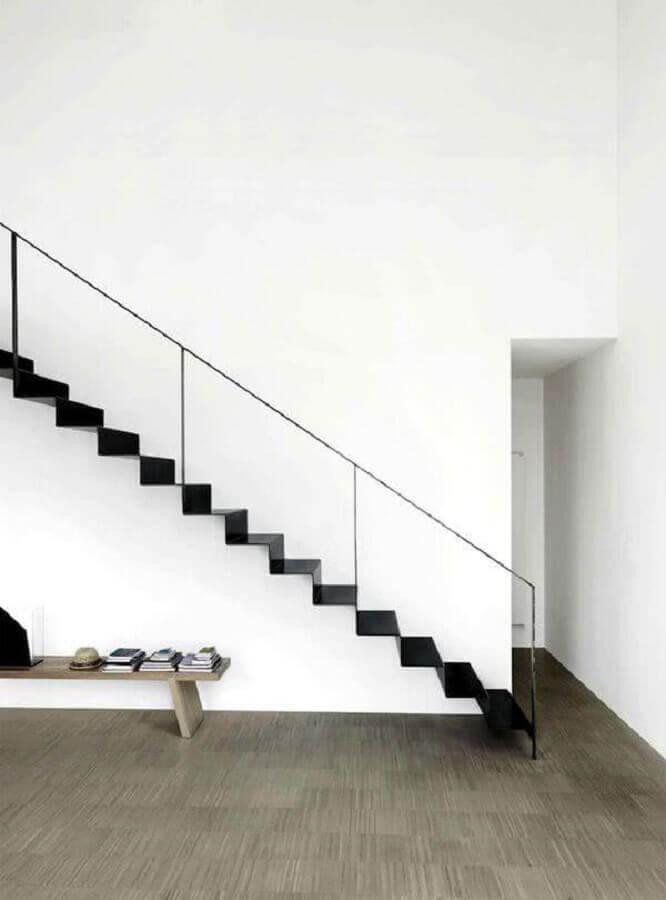 decoração minimalista com escada de ferro interna Foto Home Deco