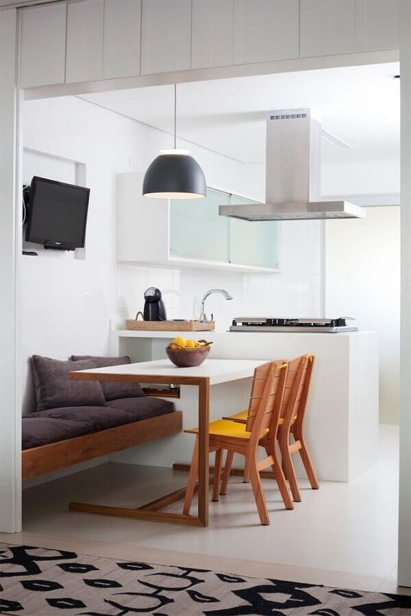 decoração minimalista para sala de jantar com cozinha americana integrada Foto Ideias Decor