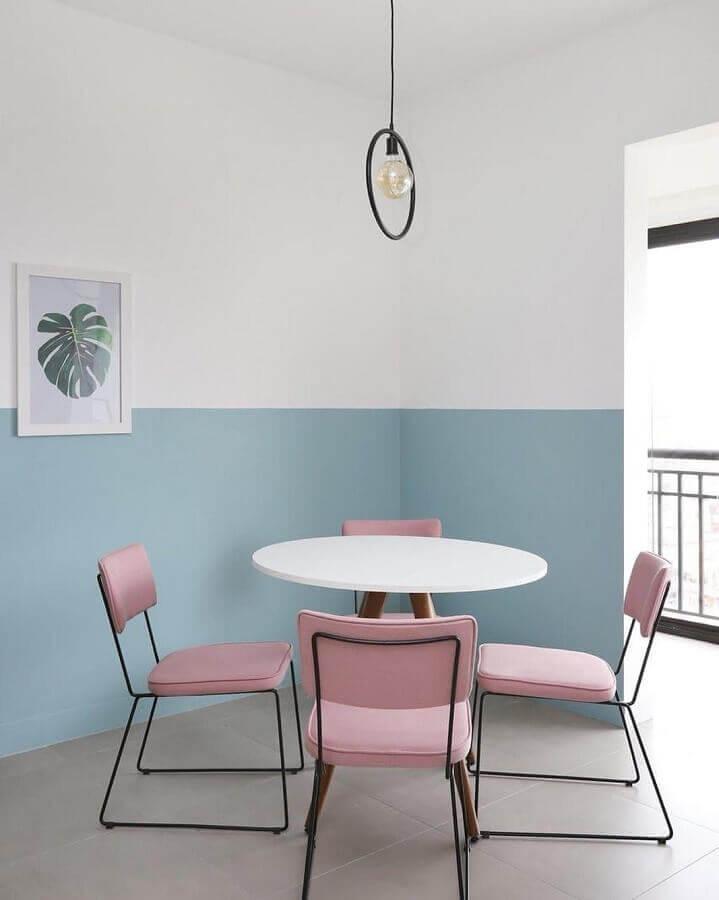 decoração minimalista para sala de jantar em cores tons pastéis Foto Qattrino Arquitetura