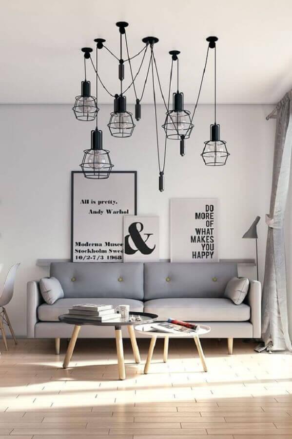 decoração moderna com luminária de teto para sala de estar minimalista Foto Etsy