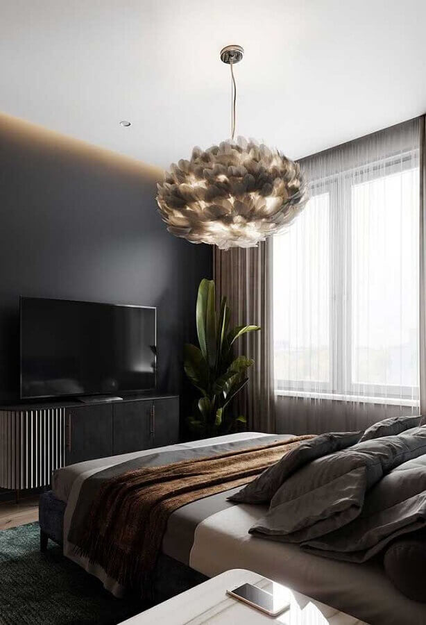 decoração moderna com lustre de teto para quarto preto Foto Architecture Art Desgins