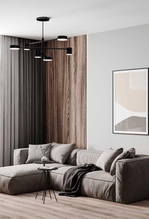 decoração moderna com sofá modular e lustre de teto para sala de estar Foto Architecture Art Desgins