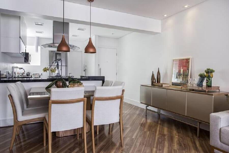 decoração moderna de sala de jantar com cozinha americana integrada Foto Pinterest