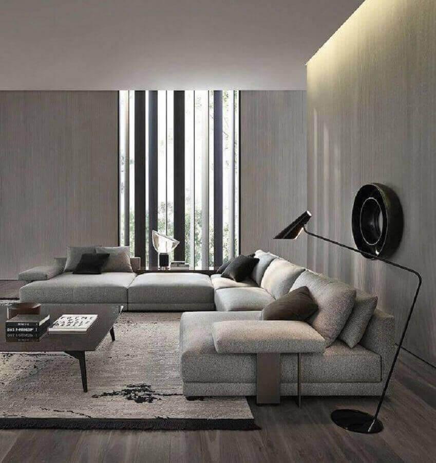 decoração moderna em tons de cinza com luminárias de piso para sala de estar Foto Futurist Architecture