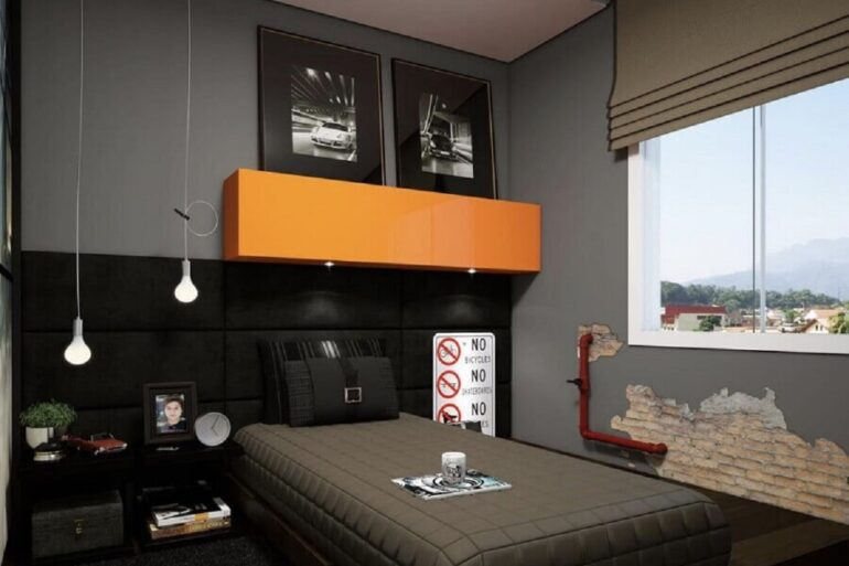 decoração moderna para quarto de homem preto e cinza com armário aéreo laranja Foto Pinterest