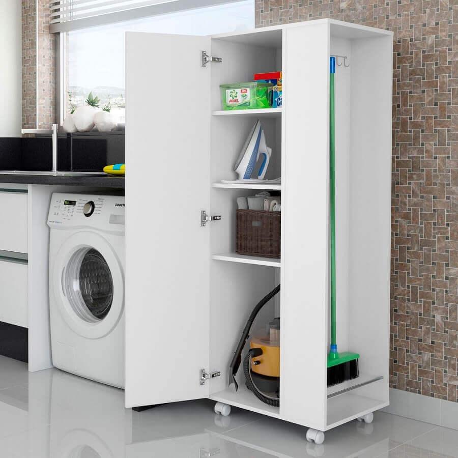 decoração simples com armário multiuso branco para lavanderia Foto Pinterest