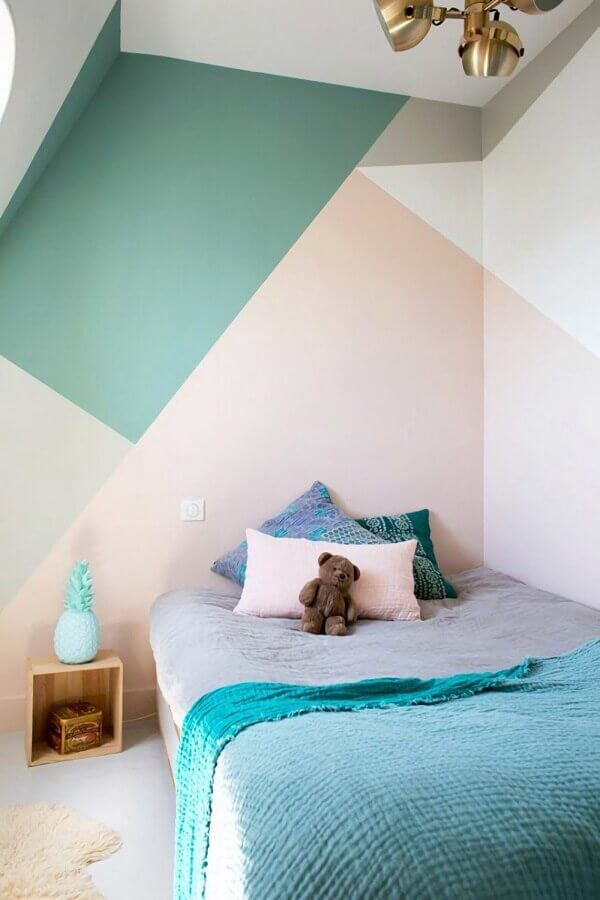 decoração simples com paleta de cores pastéis para quarto Foto Archidea